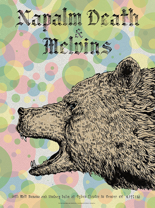 Napalm Death, Melvins, & Melt Banana, Denver (Bear) 2016 Print