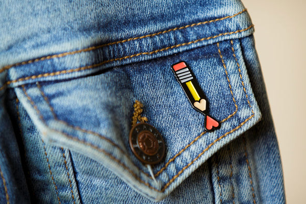 Pencil Heart Enamel Pin by Sean Mort