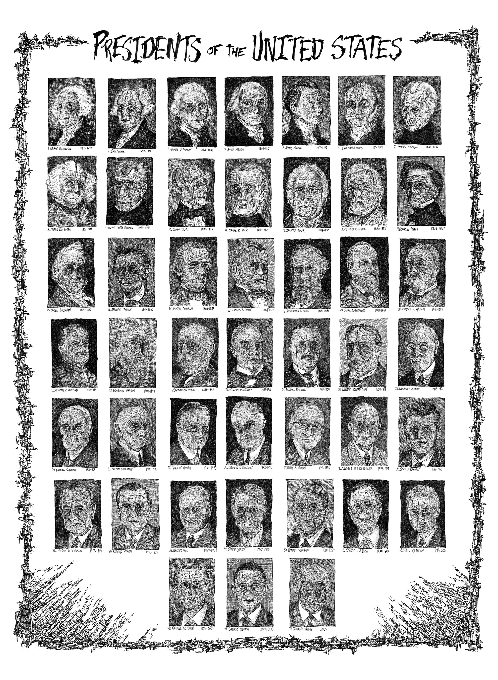 Presidents of the United States Print by Anthony Christopher