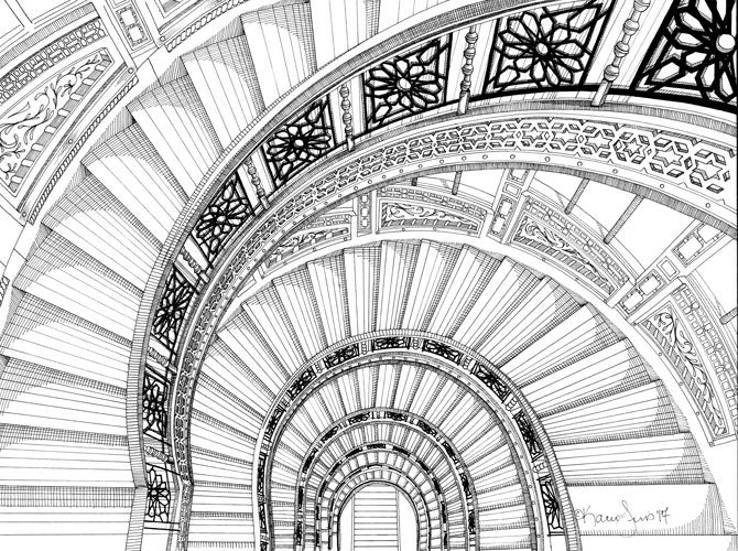 The Rookery Stairwell Print by Kate Lewis