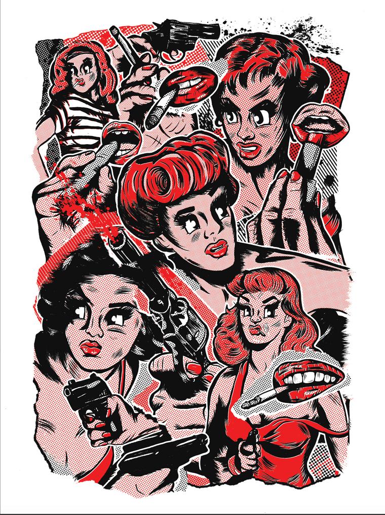 Femme Fatale (Red/Black) // Loaded Guns 2 Exclusive Print by Samuel B. Thorne