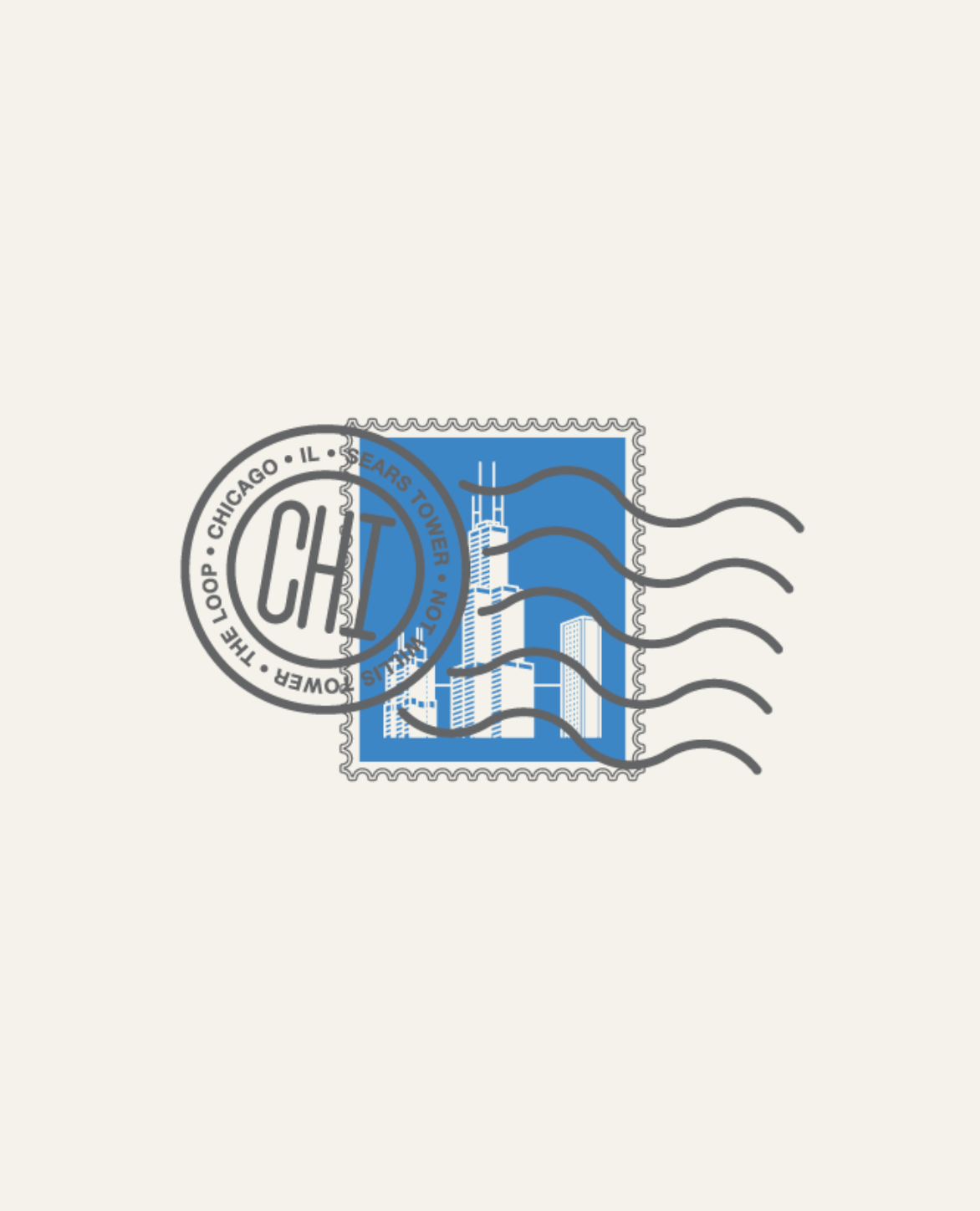 Sears Tower, Chicago IL Stamp by Sean Mort