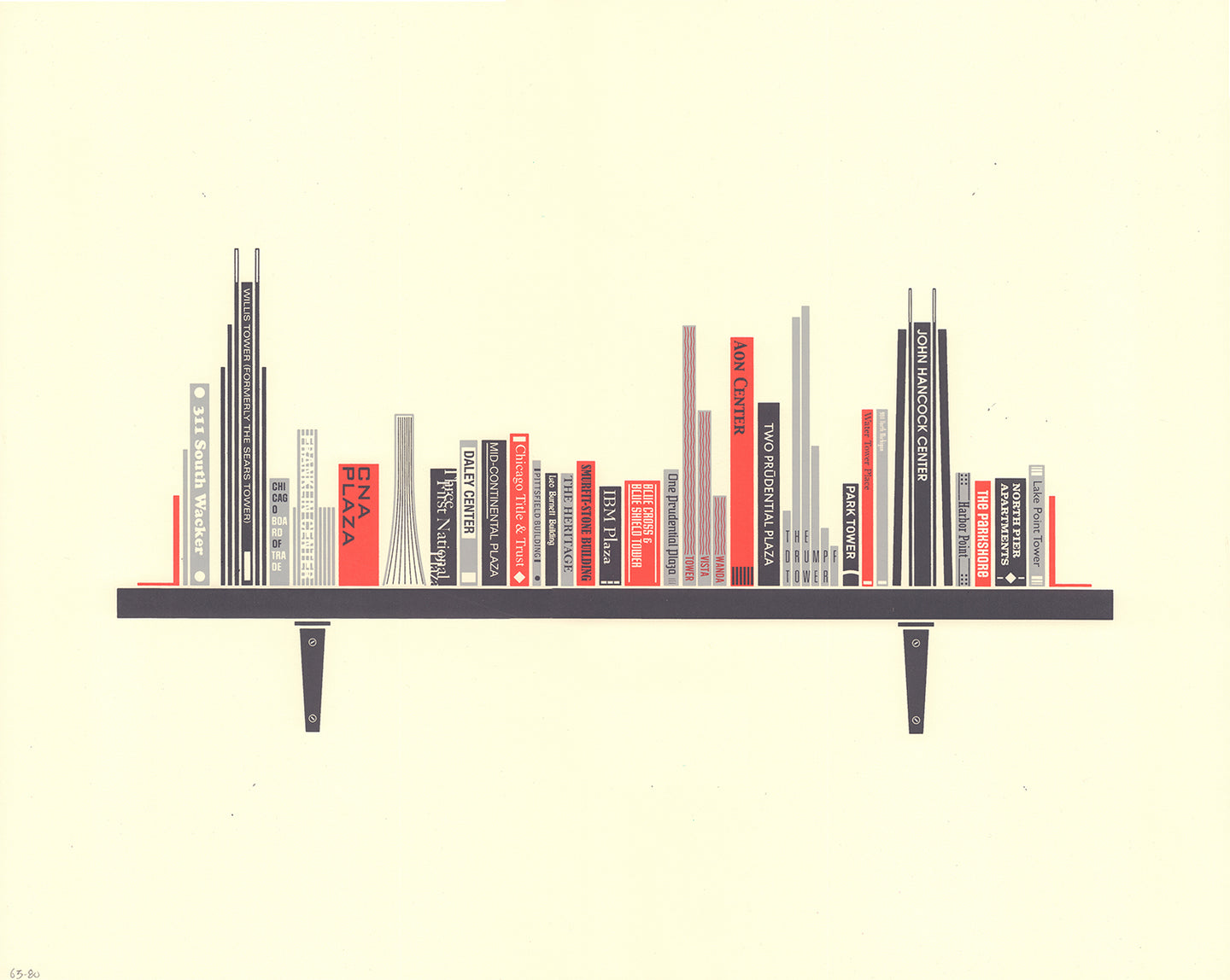 Bookshelf Chicago Print 2019 Updated Edition by Sean Mort