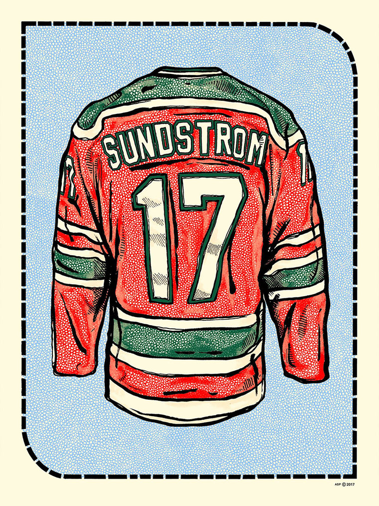 N. Sundstrum Jersey (Away - Red) Print by Zissou Tasseff-Elenkoff