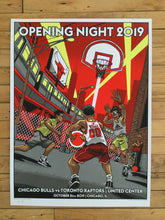 "Load image into Gallery viewer, ""Officially Licensed Chicago Bulls '19 - '20 Opening Day"" by Tim Doyle"