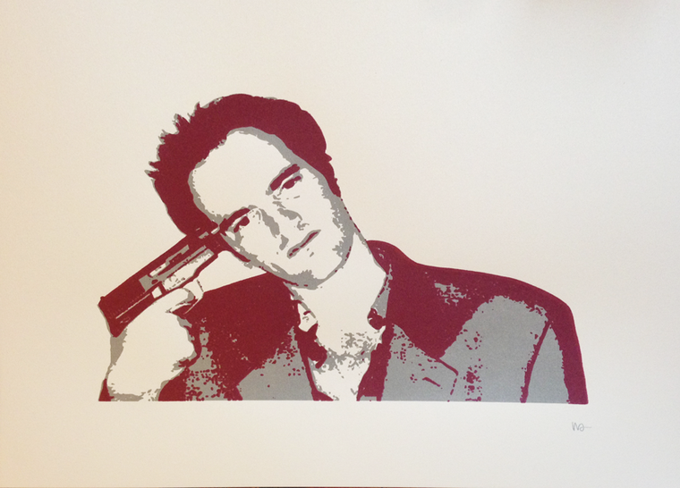 Quentin Tarantino (Silver/Metallic Red) // Loaded Guns 2 Exclusive Print by Wayne Allen