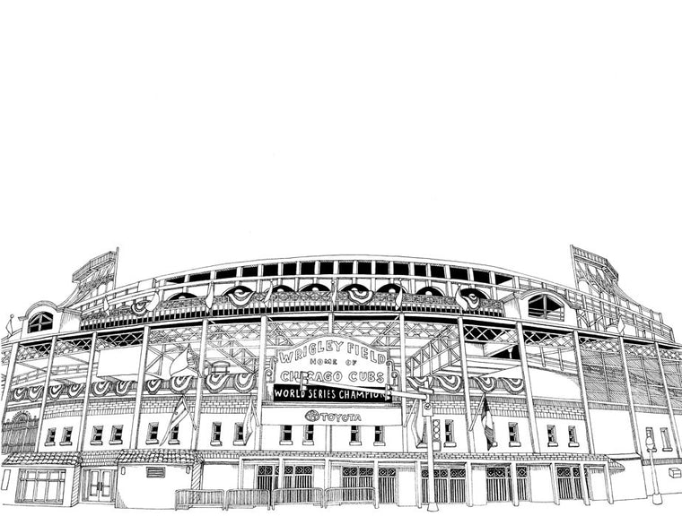Wrigley Field Print by Kate Lewis