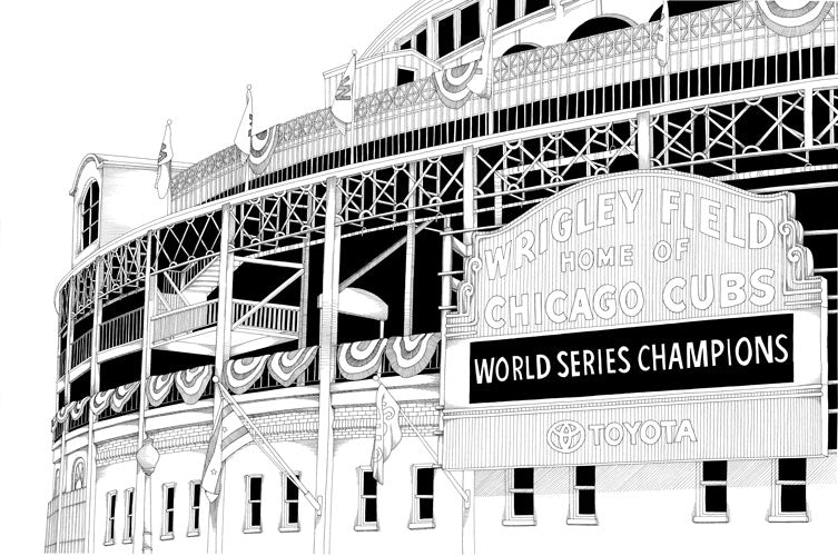 Wrigley Field Champions Print by Kate Lewis