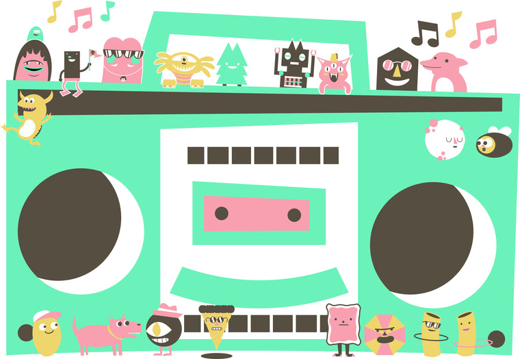 Boombox Bunch Print by Blake Jones