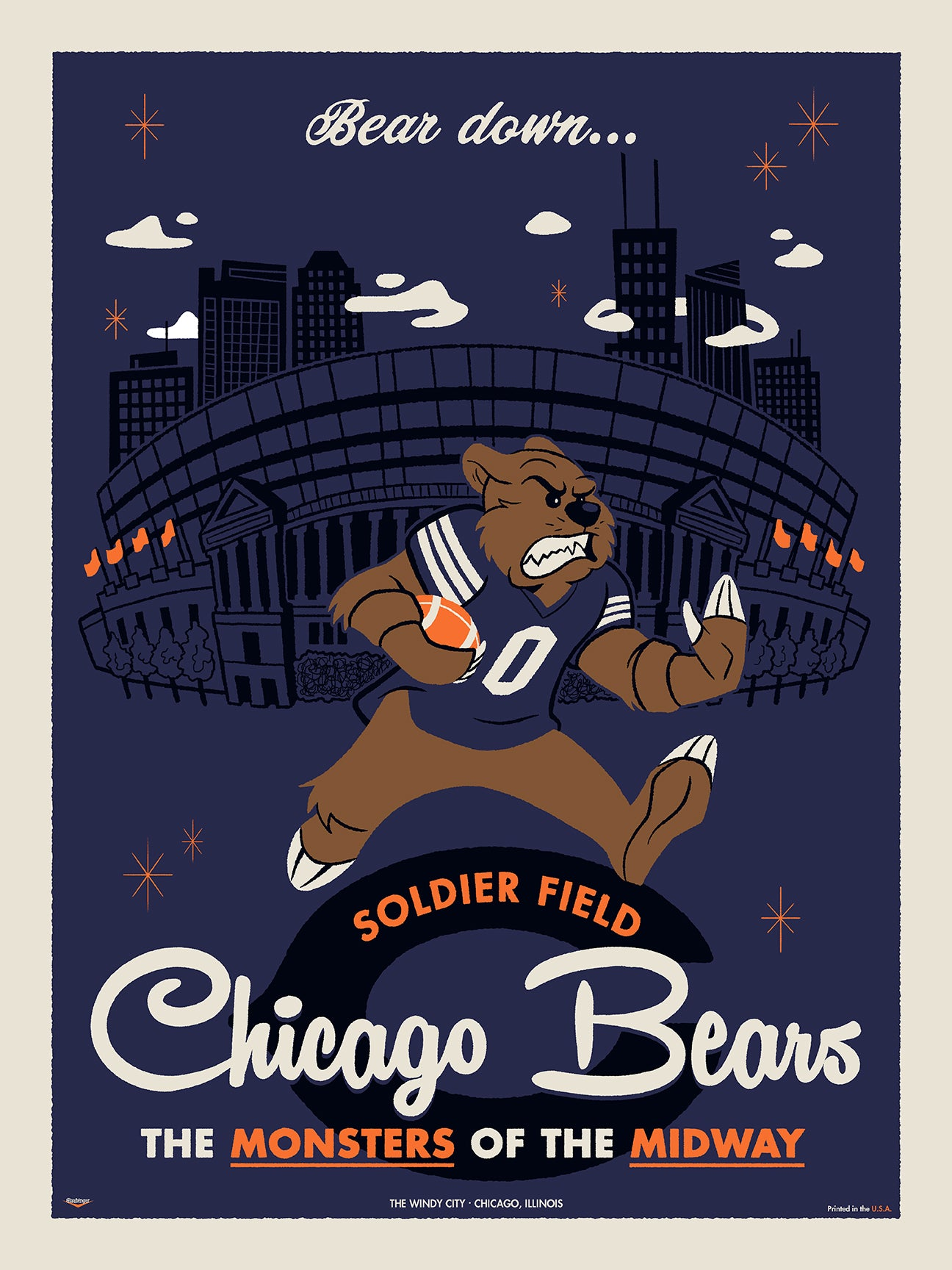 Chicago Bears Print by Ian Glaubinger
