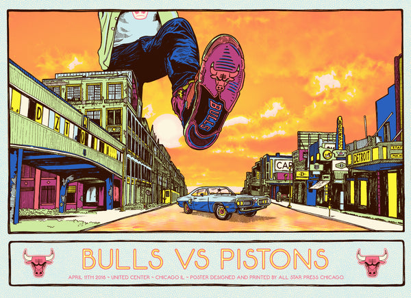 Chicago Bulls Exclusive: Pistons VS Bulls Print by Zissou Tasseff-Elenkoff