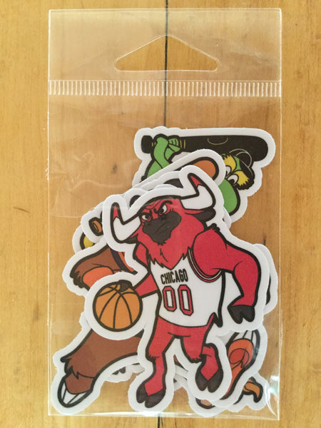 Assorted Chicago Mascot Sticker Pack by Ian Glaubinger
