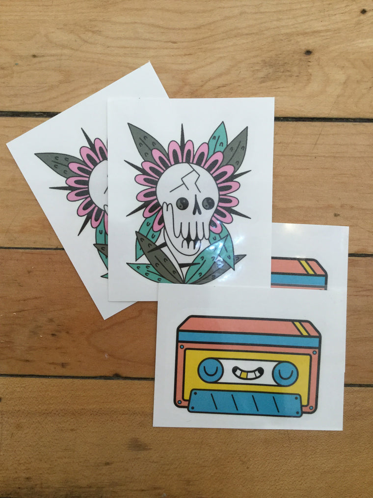 Skull and Cassette temporary tattoos (4) pack by Blake Jones and Michelle Wanhala