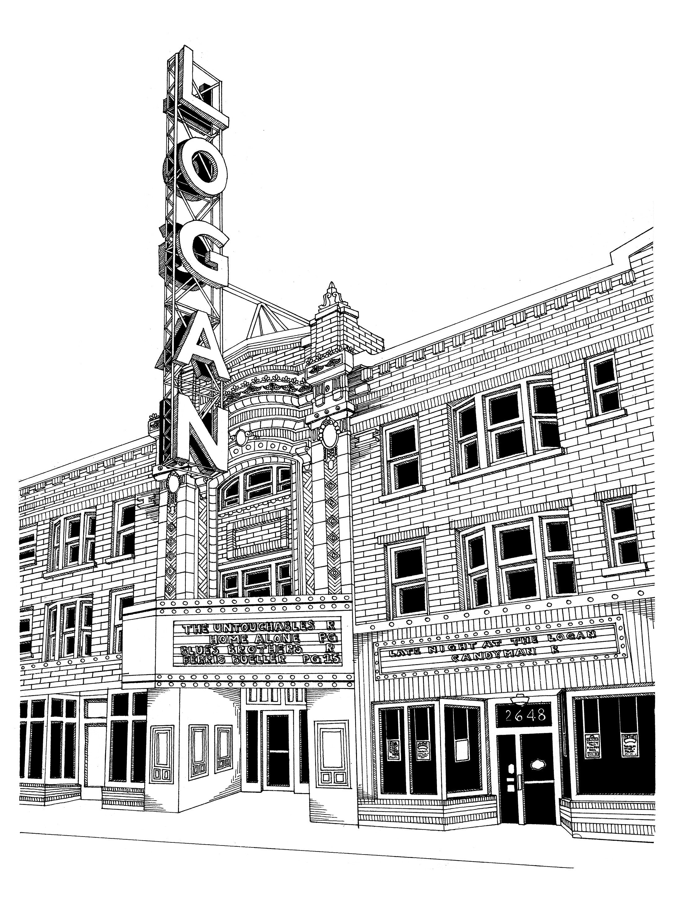 Logan Square Theater Print by Kate Lewis