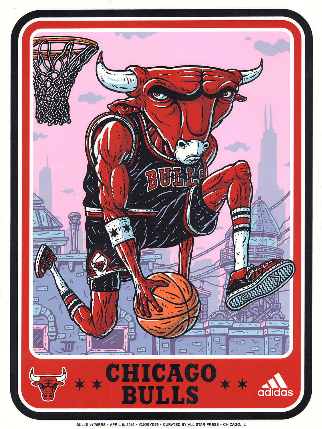 Official 76ERS VS Bulls Print by Joey D. Regular