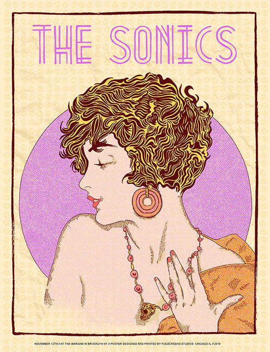 The Sonics Poster- Brooklyn 2016 Print by Zissou Tasseff-Elenkoff