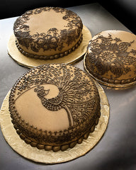Henna themed cake brown