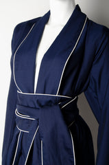 Navy Blue Pyjama Chic Robe