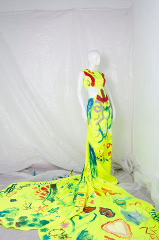 Handpainted Neon Gown