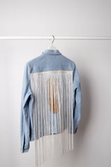 Motif Fringe Denim Jacket