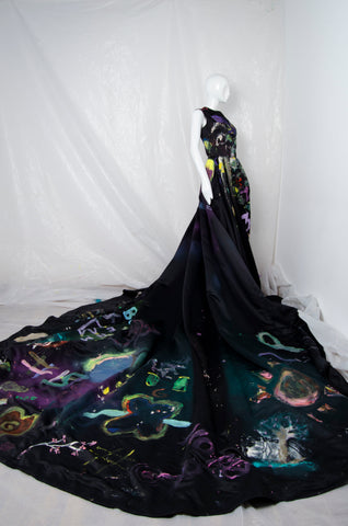 Black Handpainted Gown