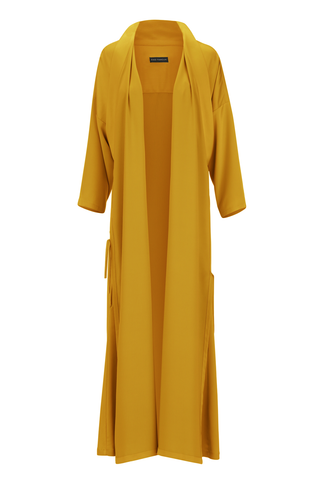Amber Yellow Tie Detail Abaya