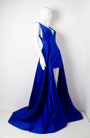 Blue Geometric Silk Gown