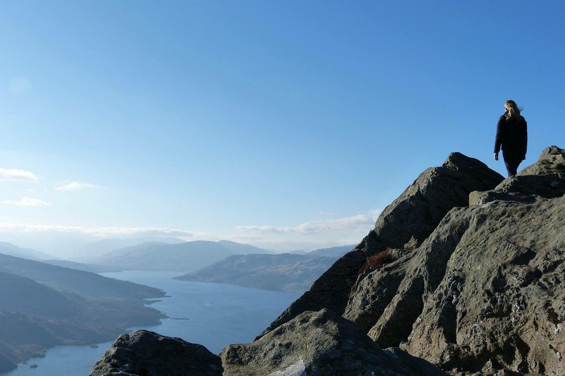 Jane atop Ben A'an Summit on a clear day, Loch Katrine