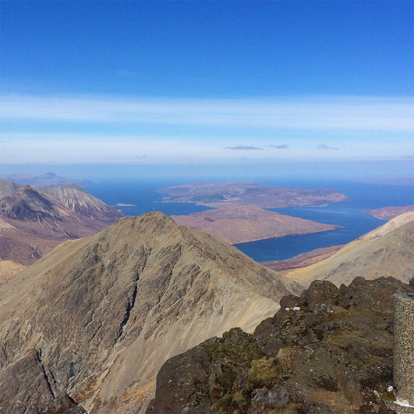 Cobalt blue views over Raasay from the summit of Blaven on the Isle of Skye