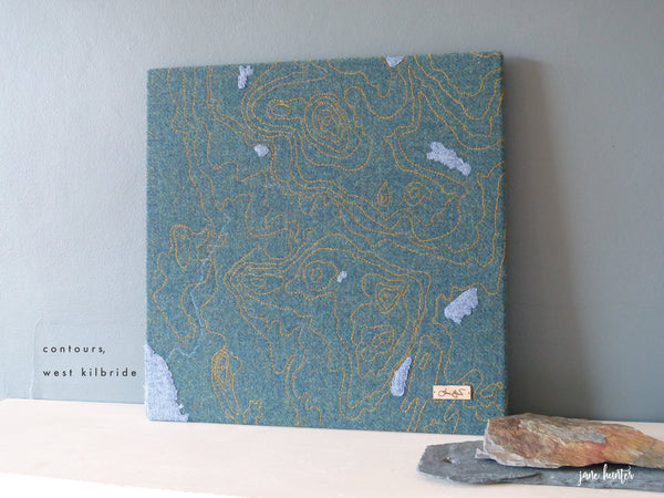 Embroidered contour map of West Kilbride, Ayrshire, by artist Jane Hunter