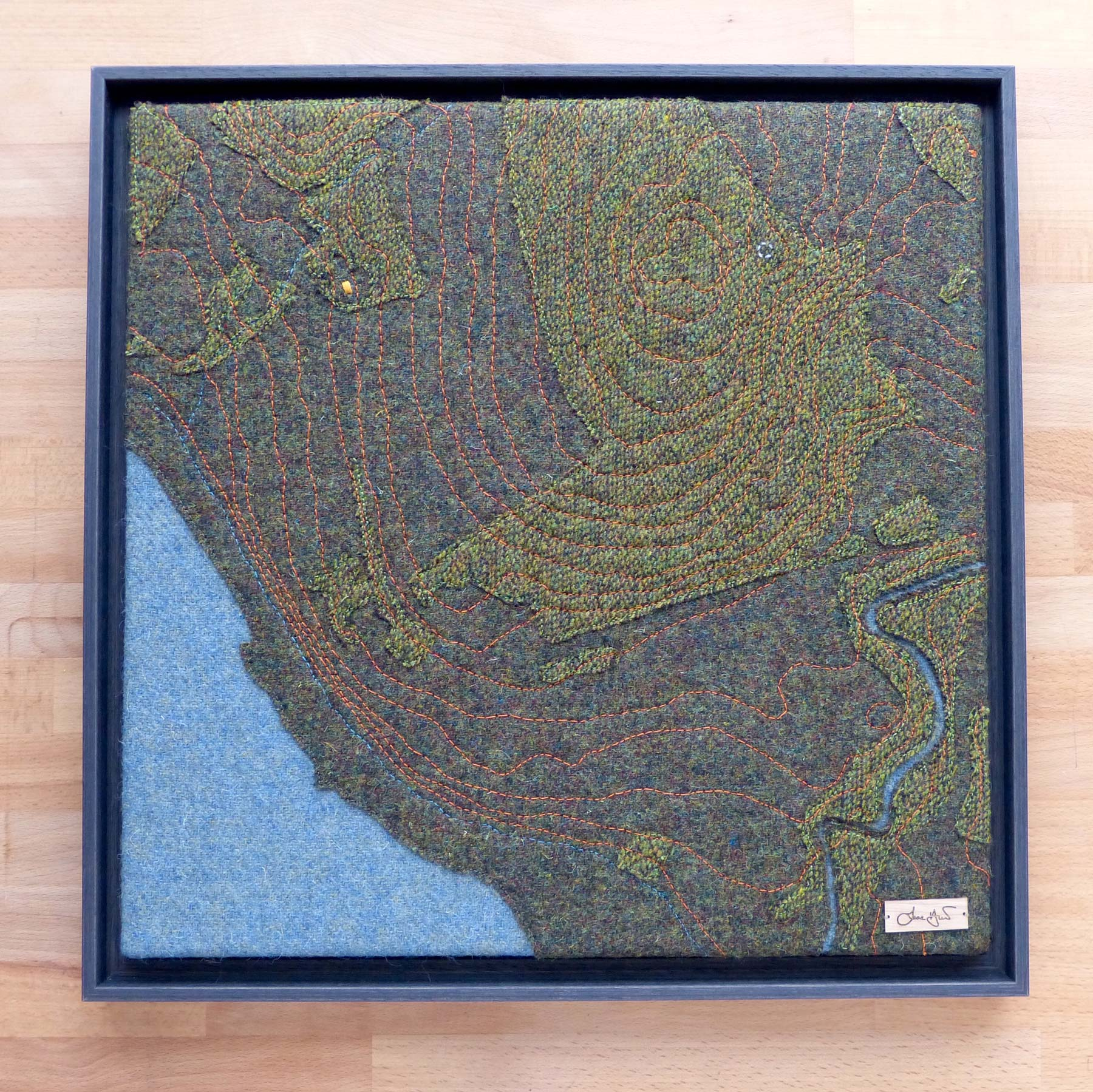 Contour Map Clachan Borodale Raasay Jane Hunter Scottish Textile Artist Harris Tweed