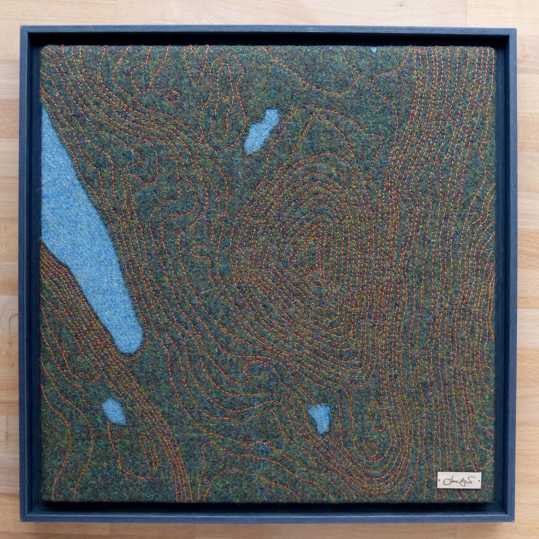 Contour Map Dun Caan Raasay Jane Hunter Scottish Textile Artist Harris Tweed