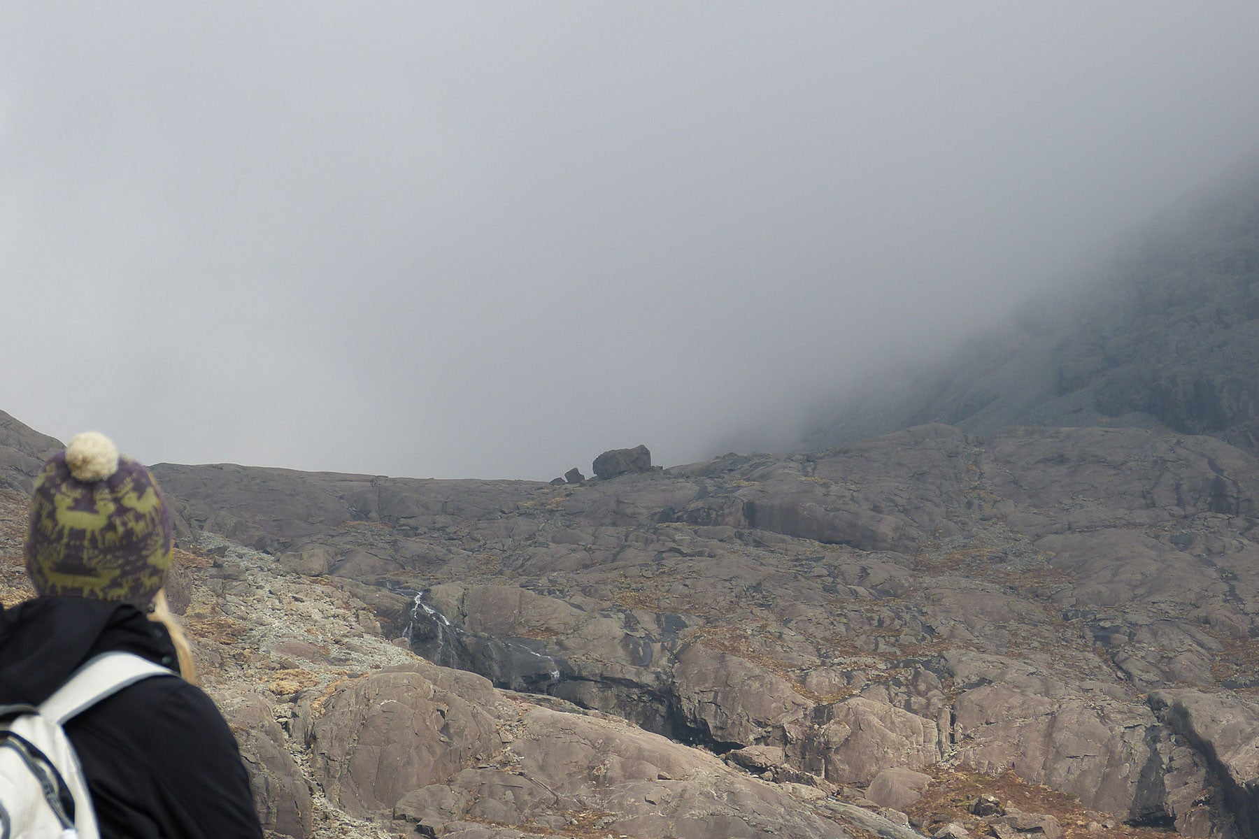 Coire Laggan Gabbro on a misty day in the Cuillin Hills