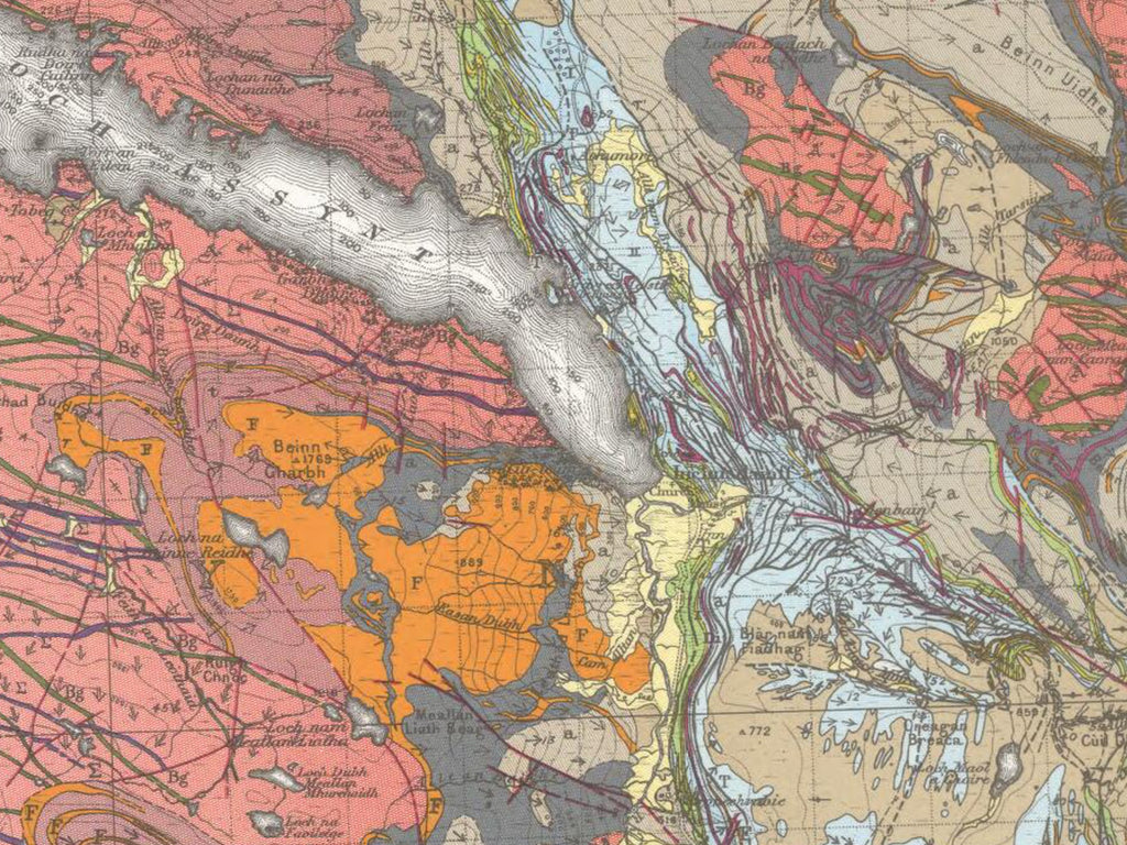 Geological Map Inchnadamph Assynt Scotland Peach and Horne Courtesy of The BGS