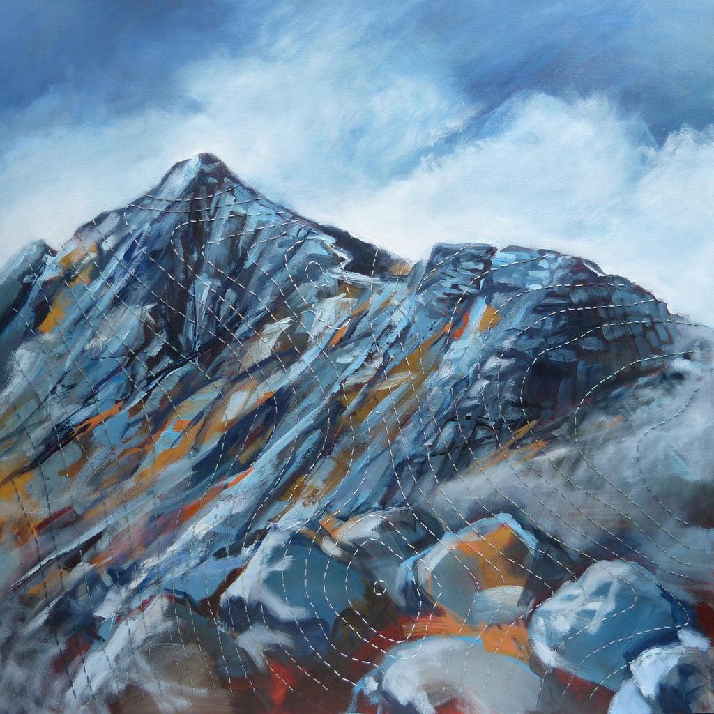 Goatfell Painting by Julie Arbuckle hand-stitched by Jane Hunter