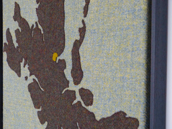 Textile Map Art of Isle of Skye for Marmalade Hotel, Portree