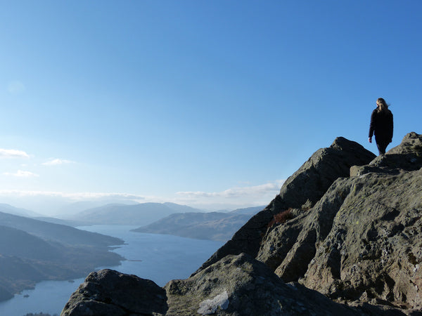 Jane Hunter Mountain Artist on summit of Ben A'an in the Trossachs, looking over Loch Katrine