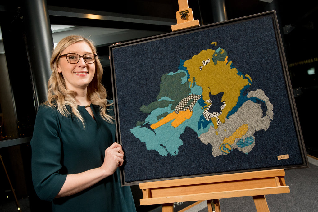 Scottish Artist Jane Hunter Textile Art Map of Geology Northern Ireland GSNI BGS Belfast