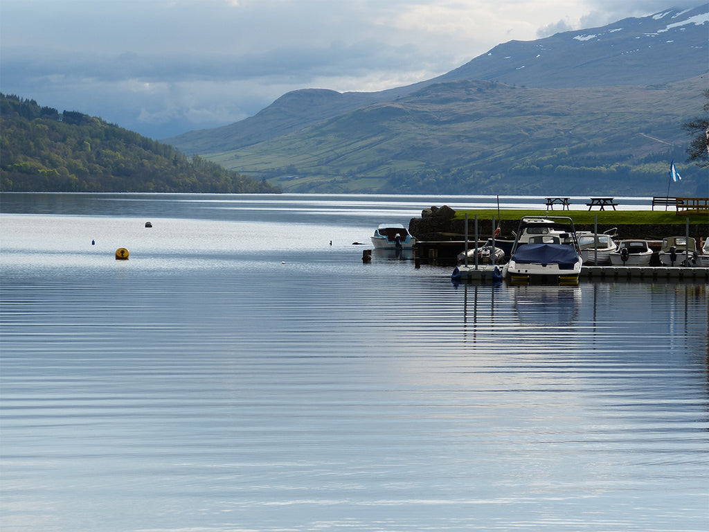 Still, calm, Loch Tay and hills beyond