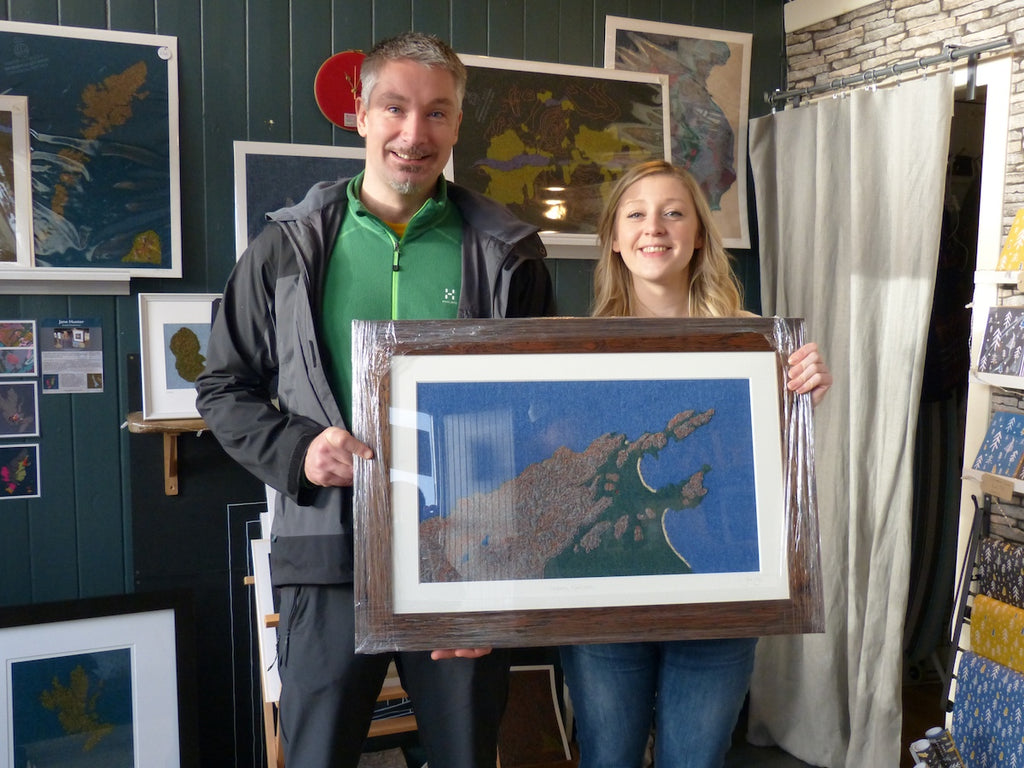 Ken collecting his specially commissioned artwork from Jane