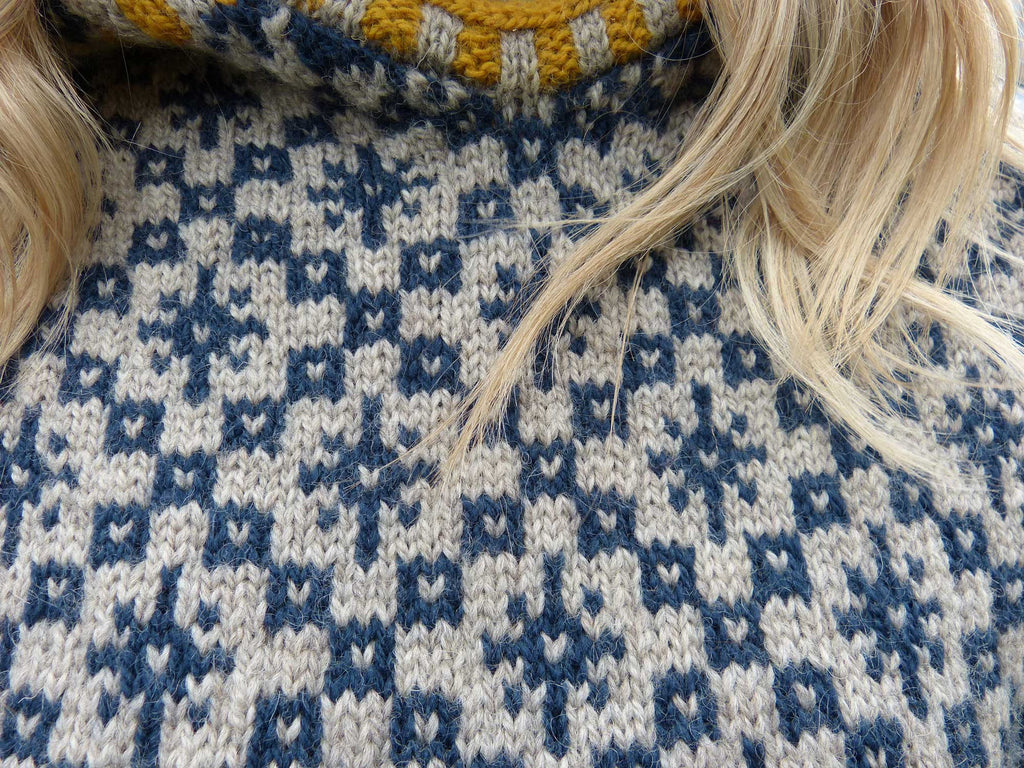 Oa Hoody - Kate Davies - Knitted by Shona Mason - Blue Grey Yellow