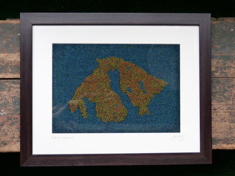 Tweed Map Textile Art of Orcas Island PNW by Jane Hunter