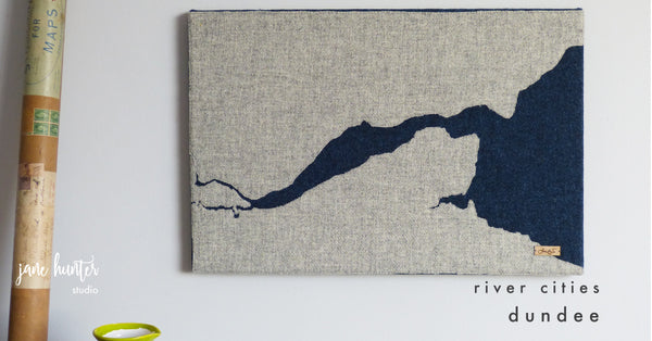 Dundee, River City Map Art, Hand-crafted in Scotland in the Jane Hunter Studio