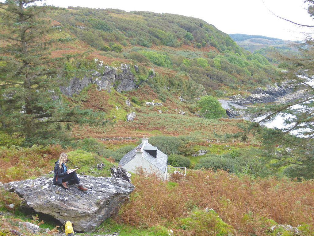 Paisley Artist Jane Hunter sketching on the rocks in remotest Argyll