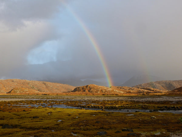Double Rainbow appears in the spectacular landscape of the North West Highlands of Scotland. Assynt.