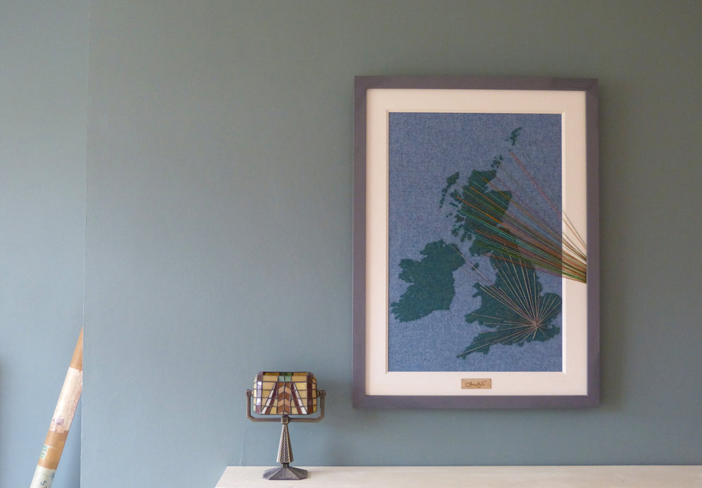Large Framed Map Art