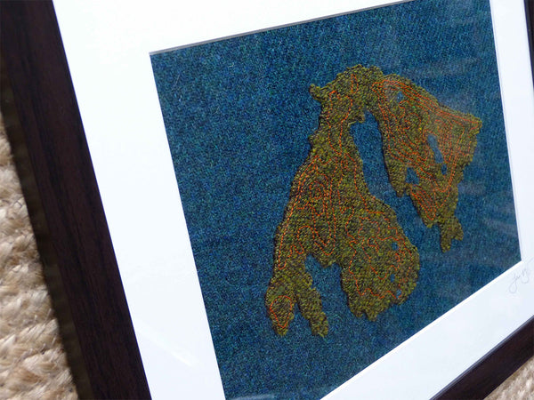 Orcas Island Map Art in Harris Tweed by Jane Hunter - Scottish Artist