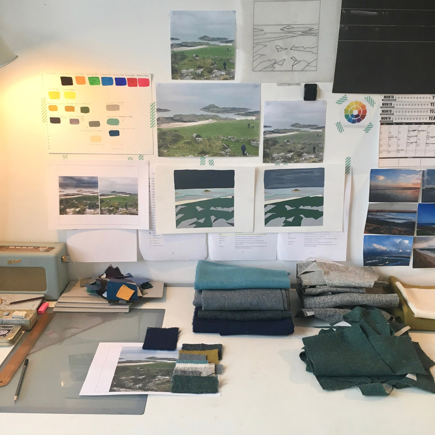 The development/making of contemporary textile landscape art in Jane Hunter's artist studio in Paisley, Scotland