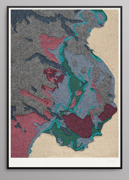 Contemporary Scottish Artist, Jane Hunter - Textile Map - Geology, Assynt, Suilven, Moine, Stac Pollaidh
