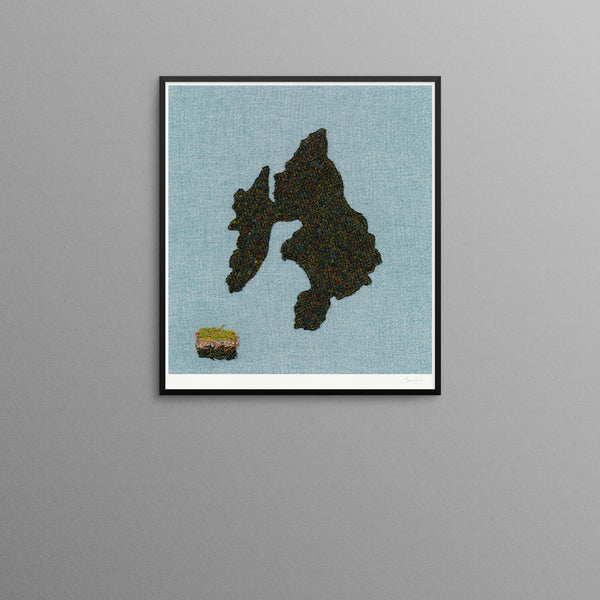 Contemporary Scottish Artist, Jane Hunter - Textile Map - Islay, Peat & Whisky